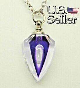 Purple Art Deco Glass Cremation Urn Necklace || Memorial Keepsake Jewelry