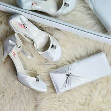 Ladies Ivory Satin Low heel Wedding Shoes & MATCHING BAG, Mary jane Ankle strap