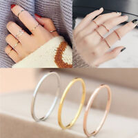 Simple Jewelry Women Titanium Steel Thin Plain Ring Knuckle Finger Ring Jewelry