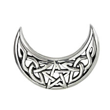 Sterling Silver Celtic Knot Crescent Moon Pentacle Pendant Jewelry Wicca Pagan