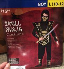 NEW Skull Ninja Costume Halloween Children's Size Large 10-12 Black + Gold