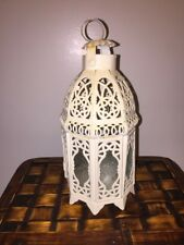 Antique Gazebo Clear Stained Glass Lantern Tealight Holder Fits Yankee Scentsy