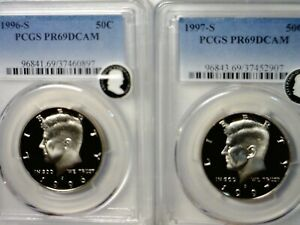 1996s 1997s PCGS PRF 69 EXCEPTIONAL DEEP CAMEO Kennedy Half Dollar 2 Coin LOT NR