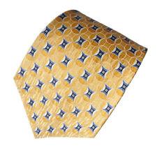 men's gold yellow and blue geometric silk tie