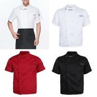 Simple Solid Chef Jacket Coat Kitchen Uniform Short Sleeves for Women Men