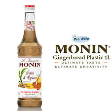 MONIN Coffee Syrups GINGERBREAD - 1L Plastic Bottle - USED BY COSTA COFFEE