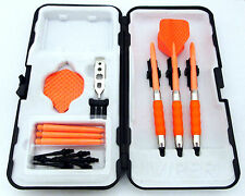 Orange Dimpled Standard Rubberized Sure Grip Soft Tip Dart Set + Case 18 gram -3