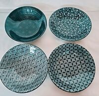 "Pier 1 Imports Bowls Small Stoneware Dish 4 1/2"" Diameter Asian Design- Set 4"