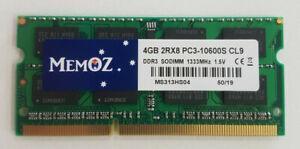 4GB DDR3 1333Mhz Notebook RAM PC3 10600S Laptop Sodimm Memory Memoz 5 Years Wty