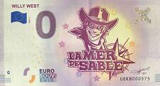 BILLET 0 EURO SOUVENIR TOURISTIQUE  WILLY WEST LA MER DE SABLE  2018 N°RADAR 575