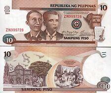 Philippines 10 Piso, 2001, Unc, Banknote, P 187i, Prefix ZN