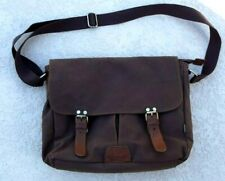 KAUKKO BROWN CANVAS CARRYALL BAG--W/LEATHER STRAPS--16X13-ZIPPERS@POCKETS