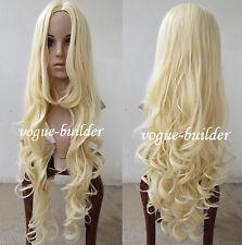 90cm 35 inch Iron Heat resistant Long Blonde Spiral Wavy Cosplay Hair Wig G613