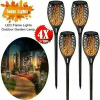 4Pack LED Solar Power Path Torch Lights Dancing Flame Lighting Flickering Lamp