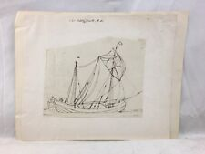 Great Orig. c1818 Sir Augustus Wall Callcott R.A. Brown Ink Drawing Boat Study