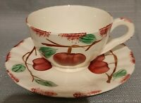 FOOTED TEA CUP & SAUCER SET Blue Ridge Southern Pottery AUTUMN APPLE