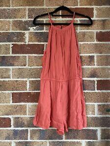 Size 10 JAY JAYS Burnt Orange Singlet Playsuit Shorts Boho Lace Trim