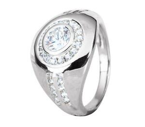 Bezel Set Bright White Round Cut 1.02CT Cubic Zirconia Halo Men's Fashion Ring