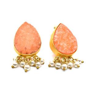 Titanium Druzy Pearl Gemstone Gold Plated Handmade fashion earring 1'' to 2'' A1
