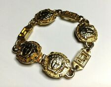 GIANNI VERSACE VINTAGE '90s MEDUSA GREEK KEY CHAINED BRACELET AGING GOLD ITALY