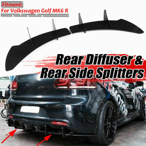 Rear Side Bumper Lip Diffuser Splitter For Volkswagen VW Golf 6 VI MK6 R 12-14