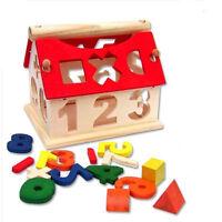 Posting House Shape Sorter Wooden Number Toys Kids Educational Intellectual JDUK