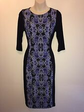 Size 8    PAPAYA    Black & Blue Stretch Silhouette Print Dress