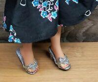 VINTAGE DOLL SHOES acrylic heel SILVER Little Miss Revlon Ginger Coty Girl Jill