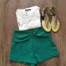 ZARA Women's High Waisted Shorts(Emerald/Green, US M/EUR M)
