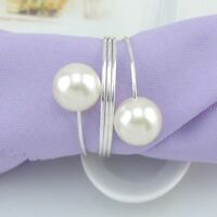 12 x Pearl Napkin Rings Wedding Dinner Party Decor Pearl Serviette Buckle Holder