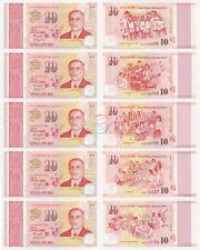 SINGAPORE 10 Dollars X 5 PCS 2015 SG50 Comm Polymer P-56 57 58 59 60 UNC