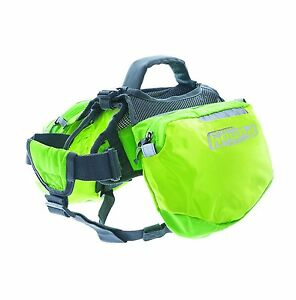 Outward Hound Quick Release Backpack Saddlebag Style Dog Backpack Small Green