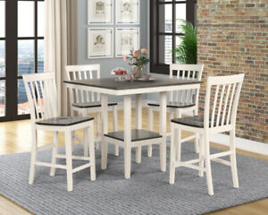 NEW Modern RusticWhite Gray Counter-Height 5PC Dining Table & 4 Chairs Pub Set