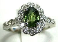 Green Sapphire Ring 18K white gold Antique Rare VS GIA Appraised Heirloom $6,59