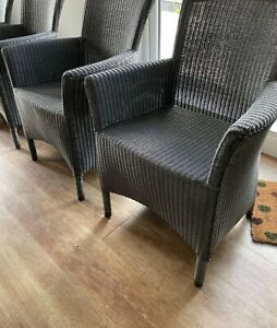 2 Neptune Montague Lloyd Loom Slate Armchairs immaculate