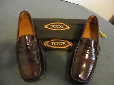 Womens 5.5 TODS Brown patent LEATHER Penny Loafer Shoes Driving Windsor
