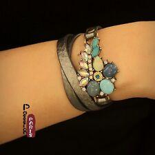 Bracelet Cuir Synthétique Noir Longue Fleur Bleu Turquoise Retro Original CT5