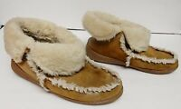 Minnetonka Moccasins Shoes Slippers Mocs Suede Leather Shearling Chestnut 8