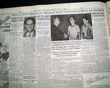 THE MASTERS TOURNAMENT Ralph Guldahi Wins Golf Major at Augusta 1939 Newspaper