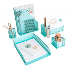 5 Piece Cute Desk Organizer Set Office Desk Organizers and Accessories for W...