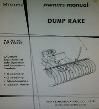 Sears Suburban Dump Hay Rake 3-Point Garden Tractor  Operator & Parts Manual 8pg