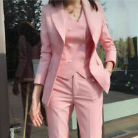Ladies Women Suits Formal Business Office Wedding Party Prom Suits 3 Pieces Pant