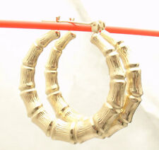 """1 3/8"""" 35mm Large Graduated Bamboo Hoop Earrings REAL 10K Yellow Gold"""