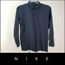 Nike Golf Men Career Formal Cotton Long Sleeve Polo Shirt Size XL Blue