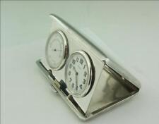 Estilo Art Deco Plata Maciza viajar Barómetro Reloj de mesilla de noche