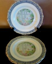 Royal Albert Bone China Silver Birch England Dinner Plates x3 Gray Band Floral