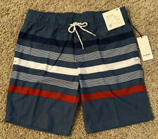 Goodfellow & Co Swim Trunks Suit Beach Board Shorts Medium Blue Stretch No liner