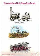 EISENBAHN-BRIEFMARKENBLATT Rocket 1829 / VIETNAM / Limitierte Auflage 1985