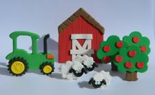 EDIBLE SCENE farm TRACTOR barn TREES sheep CAKE TOPPER decorations COMPLETE KIT