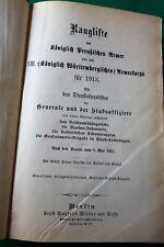 Rangliste Königlich Preußische Armee + XIII. Königl. Württemb. Armeekorps 1913